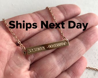 Coordinate Necklace - Personalized Necklace - Personalized Bar Necklace - Best Friend Gift - Rose Gold Necklace - Girlfriend Gift