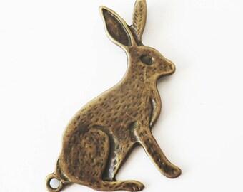 2 x rabbit alice - Antique Bronze charms