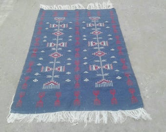 Blue rug, blue  kilim rug, rug, Margoum kilim, white rug, Kilim rug, Moroccan rug, Turkish rug, area rug, Moroccan rug, kilim