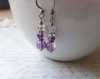 Purple fluorite and crystal cube earrings