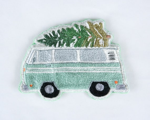 Hand Embroidered Green Bus Patch