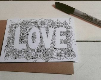 Love Card - A6 Greetings Card - Henna Mehndi Art - Valentines Day - Wedding - Mandala - Zentangle - Drawing - Art Print