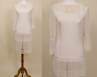Vintage Sheer White Lace, Eyelet Embroidered Midi Dress // Dropped Waist, Tiered Hemline