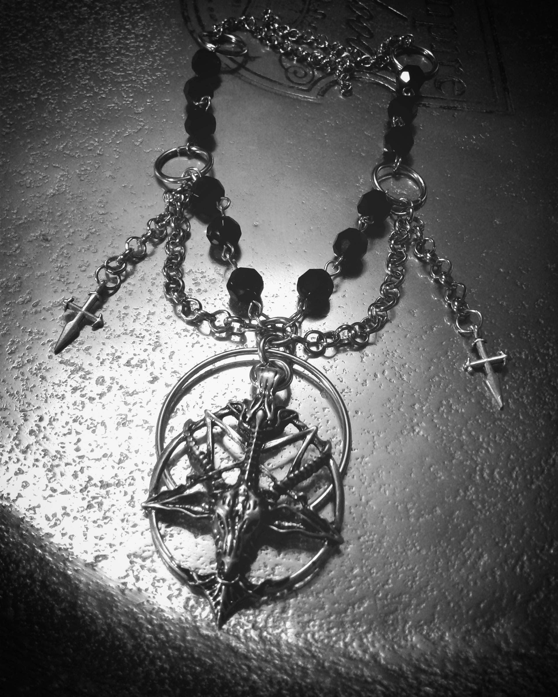 devil pitchfork inverted satanic pendant trident ritual pin side neckace goat occult one magick baphomet