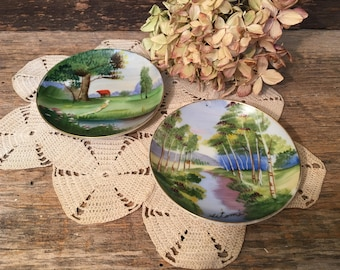Vintage Ucagco Ceramics Plates/Hand Painted/Made in Japan/Set of Two/Hanging