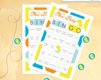 Baby Shower Bingo 30 printable Cards Game Rubber Ducky - Instant download