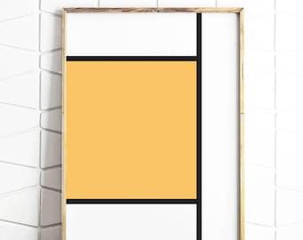 modrian line, modrian stripes, abstract art, abstract decor, yellow abstract, abstract line art, line art decor, stripes decor, poster art