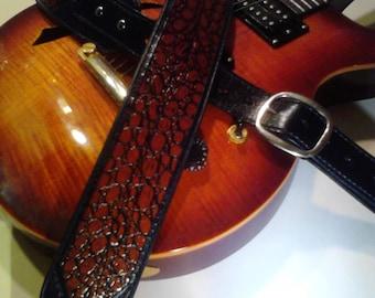"Genuine Leather Guitar Strap Aligator Embossed Inlay ""The Bayou"""