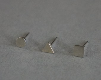 Sterling Silver, circle, triangle, square earrings, geometric stud - TS009