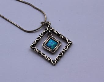 Vintage Sterling Silver and Opal Necklace