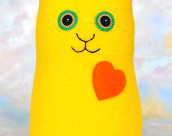 Handmade Cat, Stuffed Animal Plush Kids Baby Doll Art Toy, Hug Me Kitten, Personalized Hang Tag, Bright Yellow, Orange Fleece, 9 inch