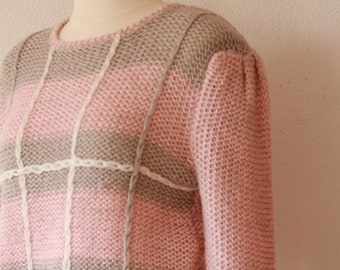 1980s pink and gray sweater