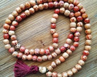 108 Bead Meditation Mala, Wooden Beads with Carved Bone Guru Bead. Yoga, Hindu Prayer Beads