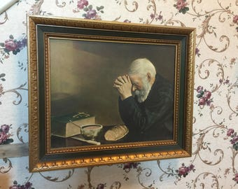 Daily Bread Man Praying At Dinner Table Grace Religious Wall Picture with overall  dimensions approximately  25 x 21