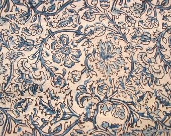 Floral Print Hand Printed Cotton Kalamkari Fabric in Blue, Black and Cream