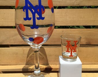 New York Mets Baseball wine and shot glass set