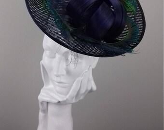 Elegant saucer hat or hatinator suitable for Ascot, Dubai World Cup, Kentucky Derby hat, Cheltenham Races,Melbourne Cup, wedding guest