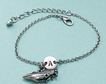 Speedboat charm bracelet, speedboat charm, adjustable bracelet, boat, personalized bracelet, initial bracelet, monogram