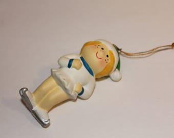Vintage Ice Skating Ornament, Enesco Christmas Ornament, Enesco Country Cousins