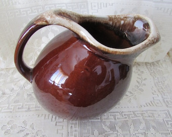 Hull Brown Pitcher, jug ceramic in shades of Brown, Signed Proof USA, VINTAGE lemonade pitcher