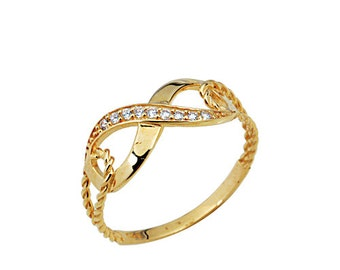 Half Twisted Infinity 14k Solid Gold Ring