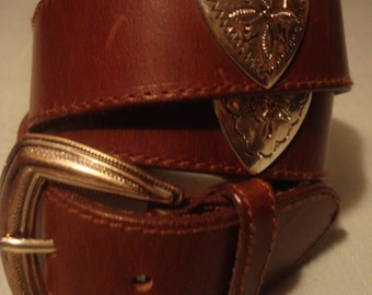 Vintage 1990s Boho Fossil Distressed Smooth Brown Concho Belt with Silver Ornate Heart Detail