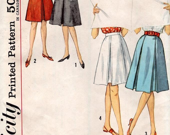 FREE US SHIP Original Uncut Simplicity 4896 Retro 1960's 60s Skirt Inverted Pleat Gored Side zipper Waist 23.5  Miss Sewing Pattern