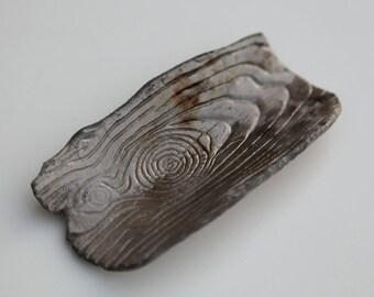 Raku Fired Small Dish with Bark Pattern