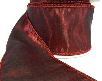 """Shiny Blackened Red Wired Ribbon  2.5"""" Wide"""