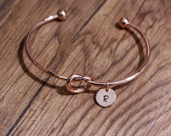 Tie the Knot Bracelet, bridesmaid gift, personalized bracelet, initial bracelet, love knot bracelet, Tie the Knot bangle, rosegold bracelet