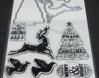 Art C Stamp and Cut- Clear Stamps and Dies *Christmas* 9 pieces