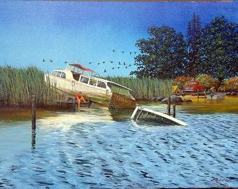 Fishing boat art,Nostalgic Americana, original oil painting,fishing scene,camping scene, rural scene,country lake painting,30 x 40 original