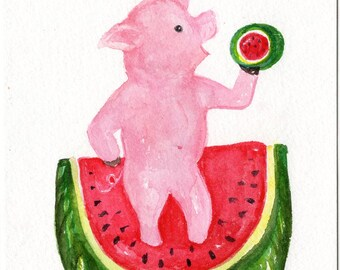 Happy Pig with watermelons watercolor painting, Original pig art painting 5 x 7