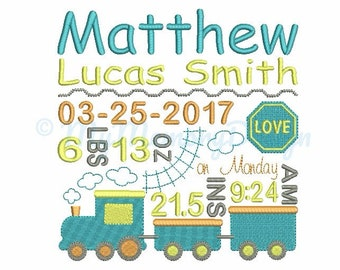 Train Birth Announcement Embroidery Design - Baby Subway Art Machine Embroidery File - EMAIL DELIVERY 0-48 hour - NOT instant download