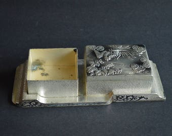 Vintage Occupied Japan Silver Plate Boxes and Under Tray -  Smoking Set – Fascinating Design Phoenix with Leaves and Stylized Flowers