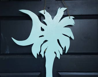 Made to Order, Large South Carolina Palmetto and Moon door hanger! Choose your paint color! Coastal decor! Sealed For Outdoor Use