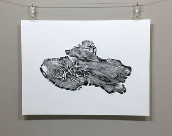 "Redwood Root Print in Black, Hand Pressed, Tree Ring Print, 18""x24"", Salvaged Wood, Relief Print"