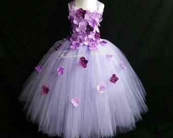 Lavender and Plum Flower Girl Dress / Bridesmaid Dress / Princess Dress / Simple Wedding Dress / Formal Dress / Wedding / Flower Girl / Gift