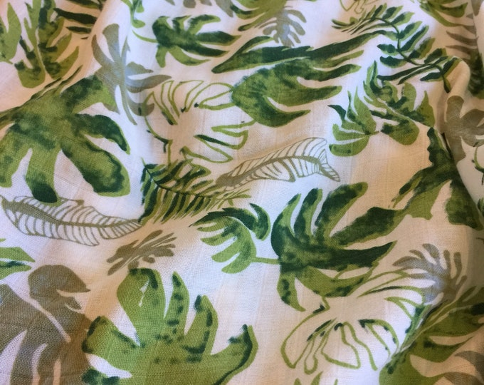 Double gauze swaddle, Muslin swaddle, Palm Leaf swaddle baby blanket, light weight breathable baby blanket, bamboo