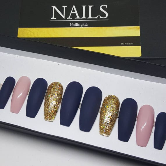 iN THE NAVY Stick on Nails Coffin Nails Glue On Nails Matte