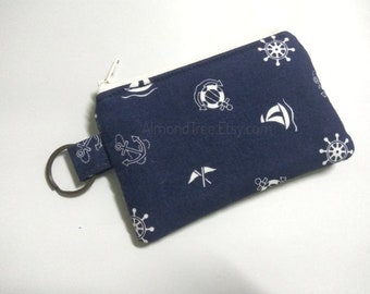 Navy Blue Nautical purse with keyring Sailing, change wallet, zip coin pouch, id1370366 id card, gift ideas, portefeuille