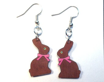 Chocolate Easter Bunny Earrings Handcrafted Plastic Jewelry Accessories Fashion Novelty Unique Gift Gifts for Her