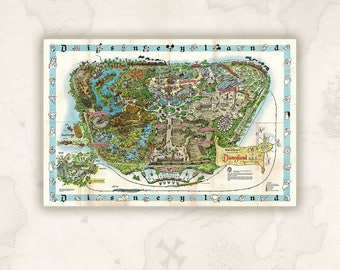 Disneyland Souvenir Map, 1962.Colorful pictorial map. Relief shown pictorially. Includes decorative border of Disney characters.Disneyland.