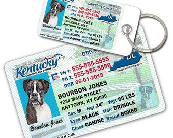 Kentucky Driver License Custom Pet ID Tags and Wallet Card - Dog ID Tag - Personalized Pet ID Tags