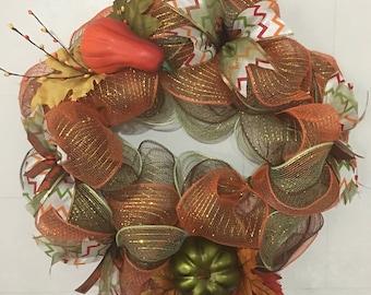 Fall Deco Mesh Wreath, Thanksgiving Wreath, Pumpkin Wreath, Green, Orange and Brown Deco Mesh