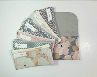 Cash Budget System, Cash Envelope Wallet -Pink & Gray Floral- (It can be used with the Dave Ramsey system) READY TO SHIP