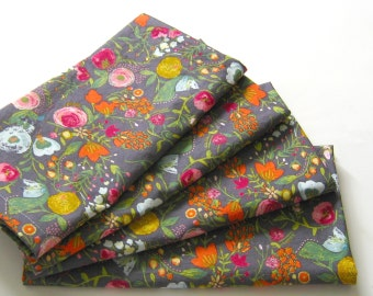 Cloth Napkins - Set of 4 - Pink Red Blue Gold Gray Flowers  - Wedding, Dinner, Table, Everyday