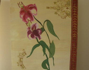 Original Gouache painting of Pink Lilly Flowers, decorated with Gold paint, Gold pen and Glitter Paint.  42cm x 59.5cm