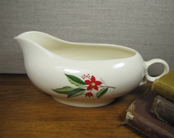 Vintage Porcelain Gravy Boat - Red Flowers and Berries - Green Leaves - Creamy White