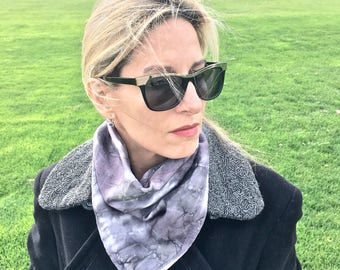 """Silk Scarf Bandana in Charcoal, Silver & White for Men or Women Handmade 21""""x21"""" One of a Kind Wearable Art. For neck, head, wrist, or tie."""